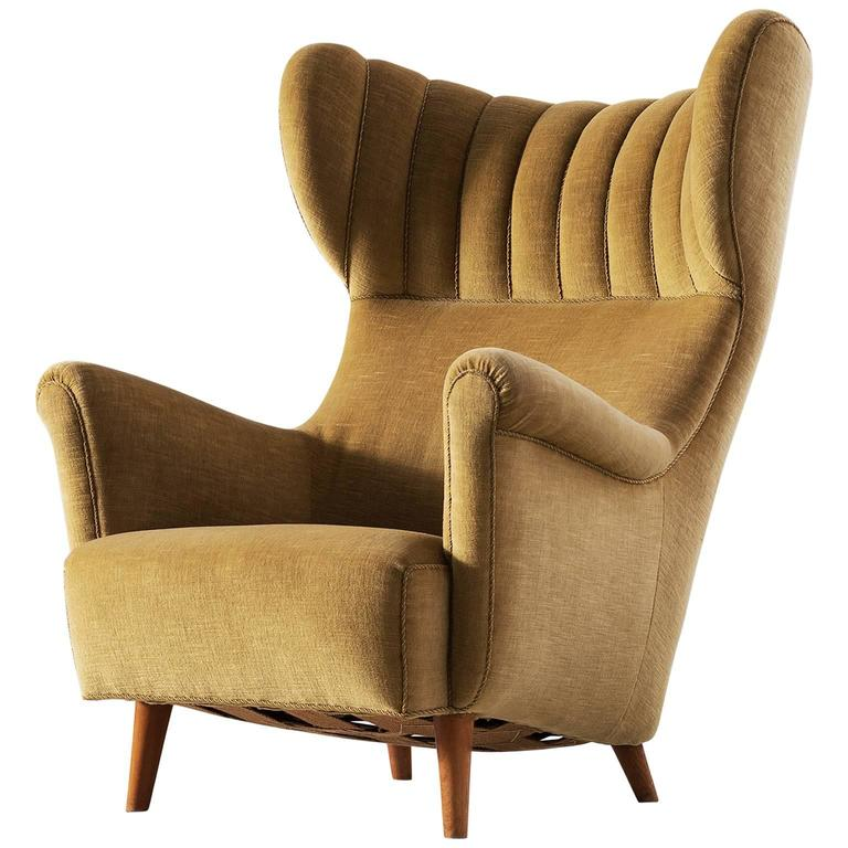 Exceptionnel Large Italian Wingback Chair In Mohair For Sale