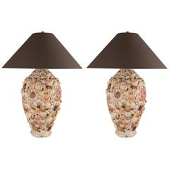Pair of Large Seashell Artisan Table Lamps