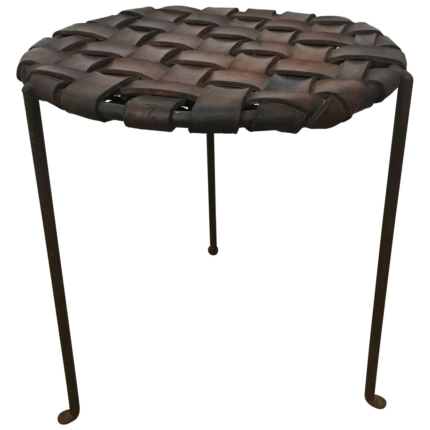 Iron And Woven Leather Stool By Swift And Monell At 1stdibs