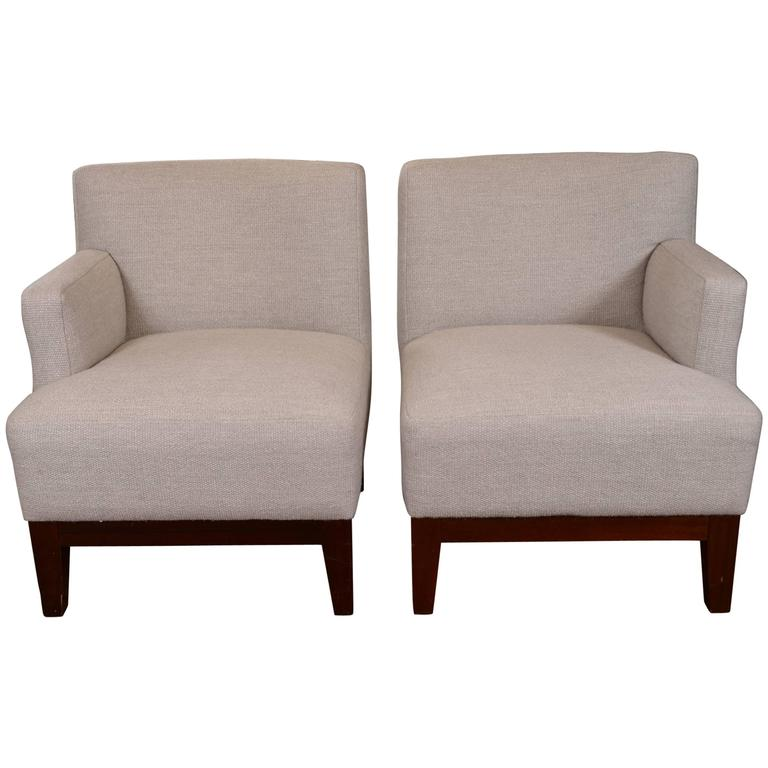 Bon Pair Of One Arm Club Chairs For Sale