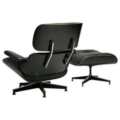 Charles and Ray Eames All Black 670 Lounge Chair and 671 Ottoman, Herman Miller
