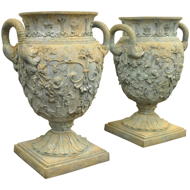"""Large Pair 40"""" Figural Cast Bronze French Neoclassical Style Garden Urn Planters For Sale"""