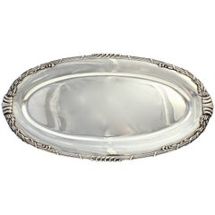 Large Heavy Dutch Art Nouveau Sterling Silver Fish Tray with Cattails by Saakes