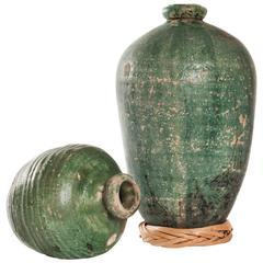 Pair of 19th Century Mexican Talavera Jars