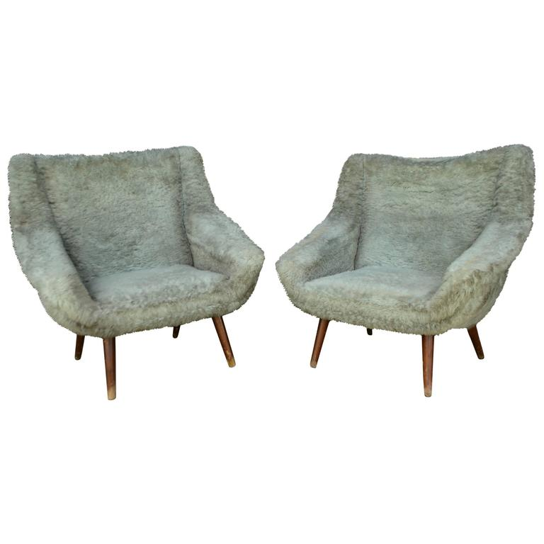 Vintage Gray Faux Fur Chairs For Sale