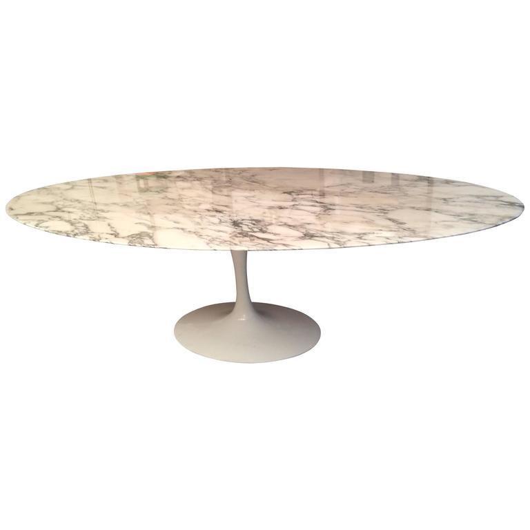 Eero saarinen marble oval dining table at 1stdibs - Saarinen oval dining table dimensions ...
