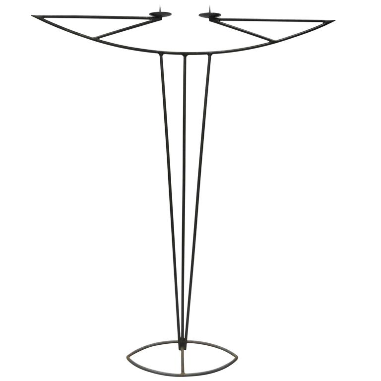 Tall Vintage Modernist Art Deco Style Wrought Iron Floor Candle Holder Stand