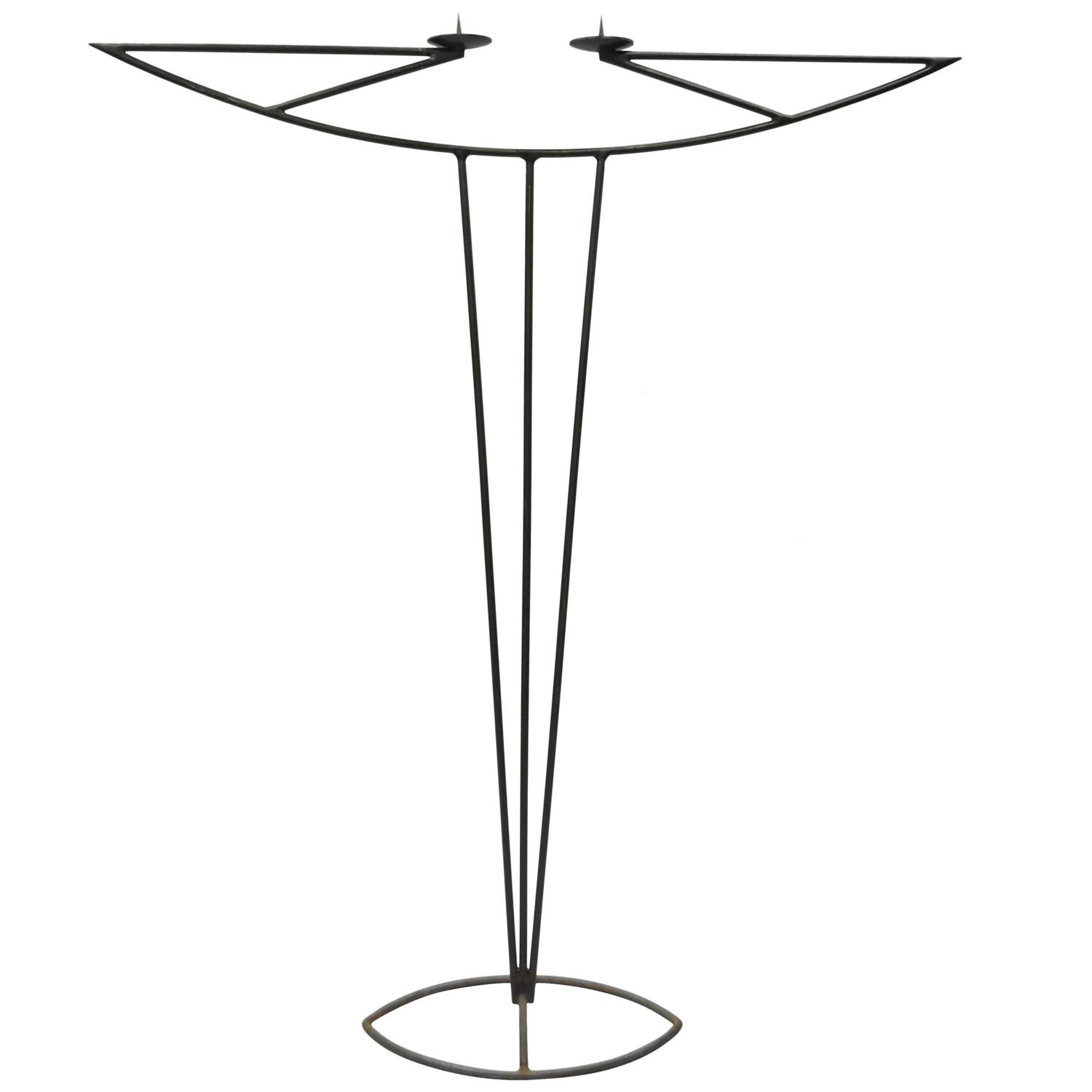 Tall wrought iron candle holders - Tall Vintage Modernist Art Deco Style Wrought Iron Floor Candle Holder Stand