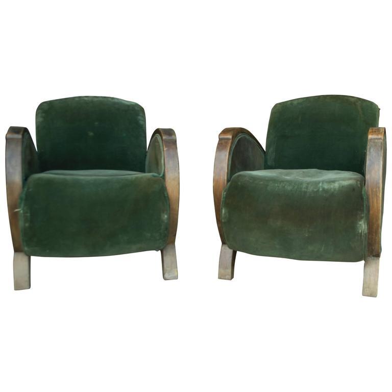 Vintage Green Velvet Art Deco Club Chairs For