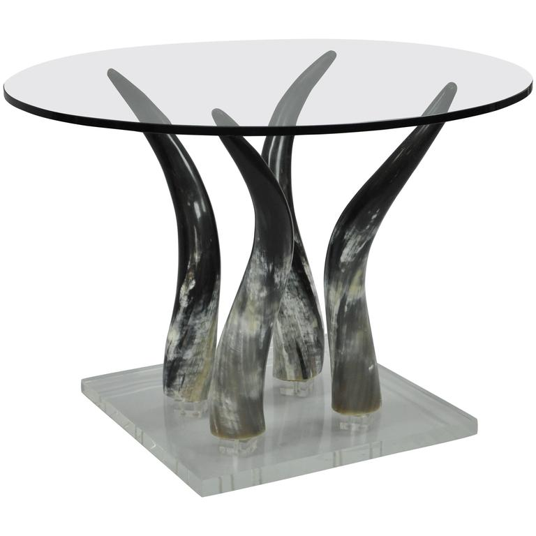 Mid Century Modern Chic Lucite and Horn Round Glass Occasional Side Table For Sale