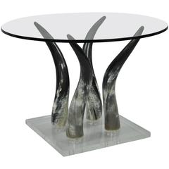Mid-Century Modern Lucite and Horn Occasional Side Table
