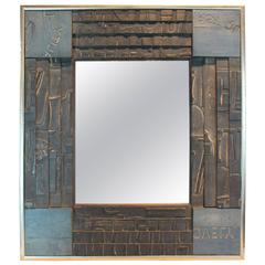 Modernist Mosaic Wood Block Fragmented Mirror