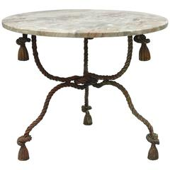 1940s Italian Marble-Top Rope Turned Round Tassel Form Iron Center Table