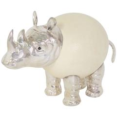 Vintage Ostrich Egg Rhinoceros by Binazzi