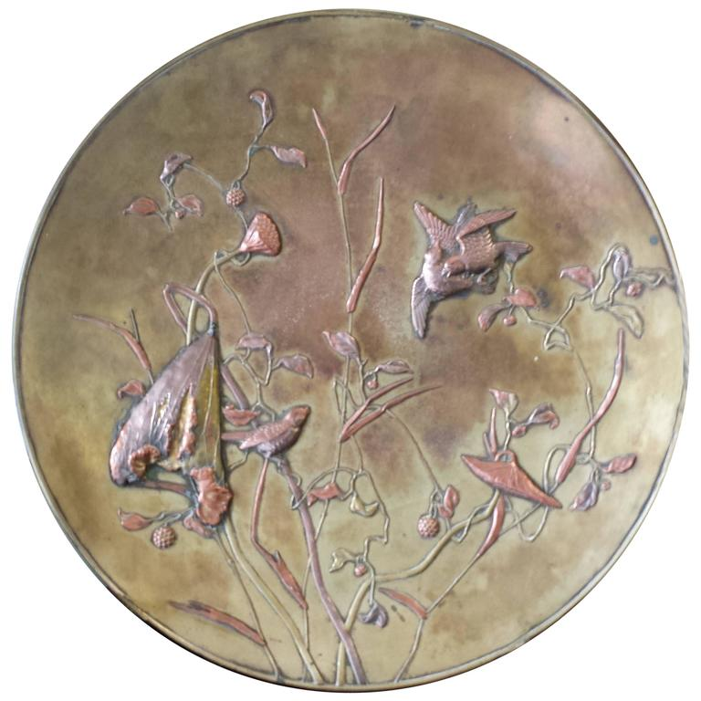 Large Patinated Bronze Japanese Mixed Metal Overlay Charger, Meiji Period For Sale