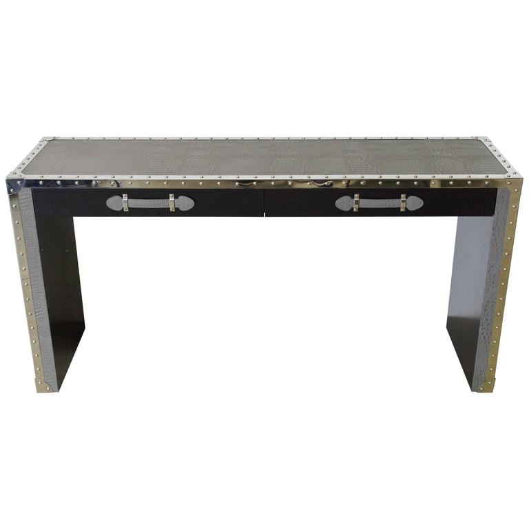 Gray Leather And Studded Stainless Steel Console Table For Sale