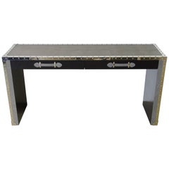 Gray Leather and Studded Stainless Steel Console Table by Fabio Ltd