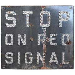 Vintage Railroad STOP ON RED SIGNAL Sign