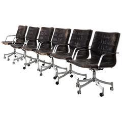 Jørgen Lund & Ole Larsen Set of Six Office Chairs in Dark Brown Leather