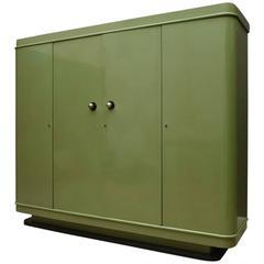 Custom-Made Art Deco Green Lacquer Four Doors Cabinet/Wardrobe