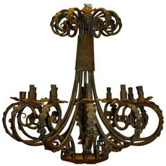 French Moroccan Brass And Jeweled Chandelier For Sale At