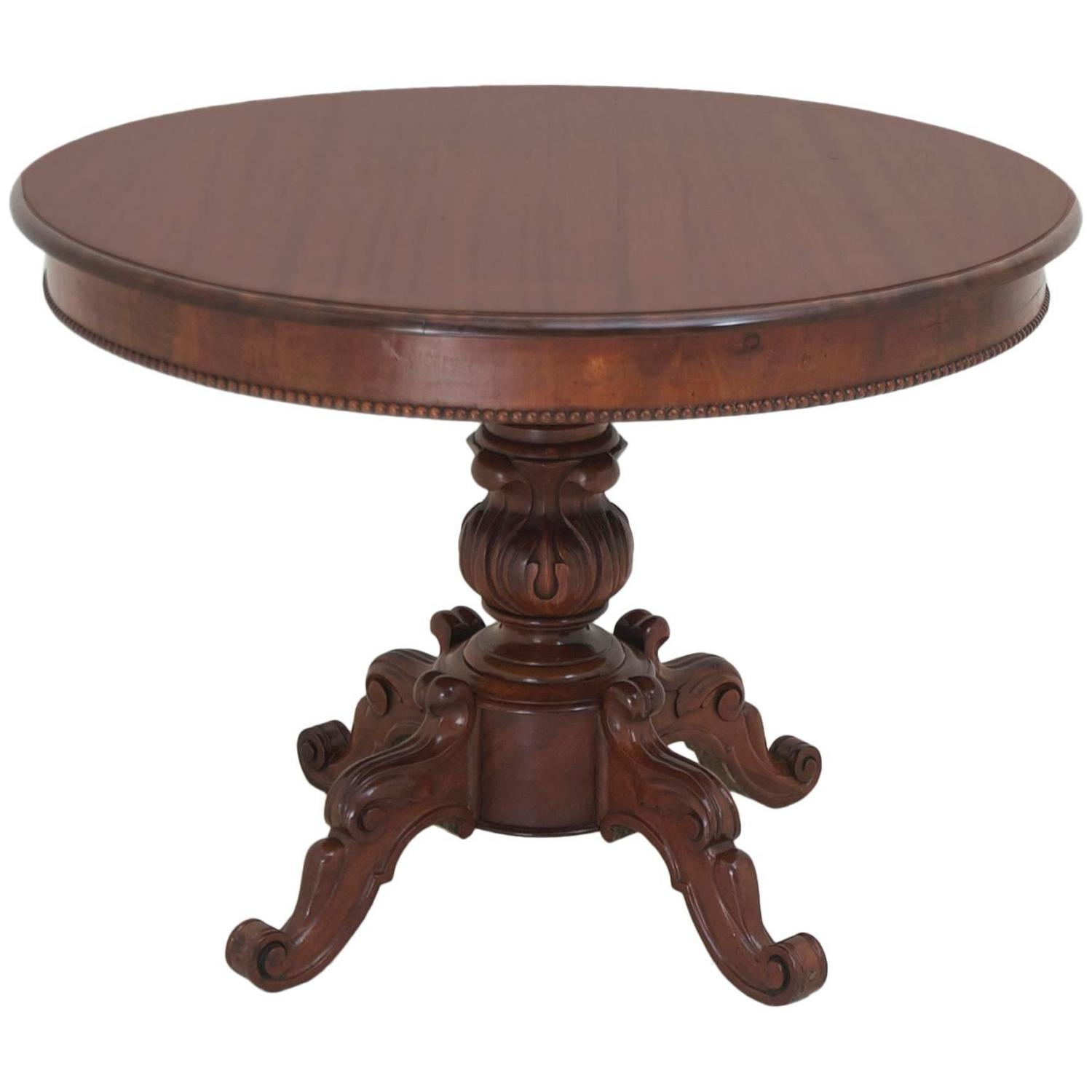 Antique french louis philippe round center pedestal table for Circle table