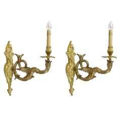 Pair of Cast Brass Gryphon Sconces with Candle