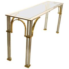 Striking Chrome and Brass with Glass Top Console or Sofa Table by Milo Baughman