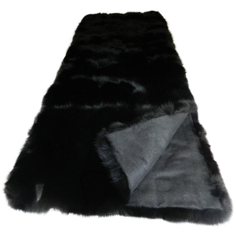 Luxurious Black Fox Fur Throw with Italian Cashmere Lining