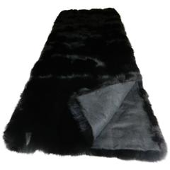 Luxurious Black Fox Fur Throw with Italian Cashmere Lining