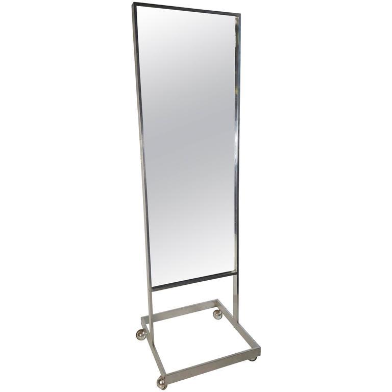 Modernist Aluminum Standing Floor Mirror / Cheval, Milo Baughman