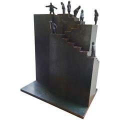 """Next Generation"""" Maquette Bronze and Steel by Jim Rennert"""