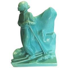 Belgian Art Deco Craquele Skier Figurine Statue