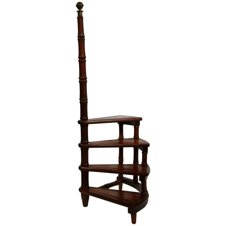 Vintage English Library Step Ladder With Leather Stairs At