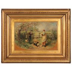 Antique Oil Painting, Couple and Dogs on a Country Lane, signed Murray MacDonald