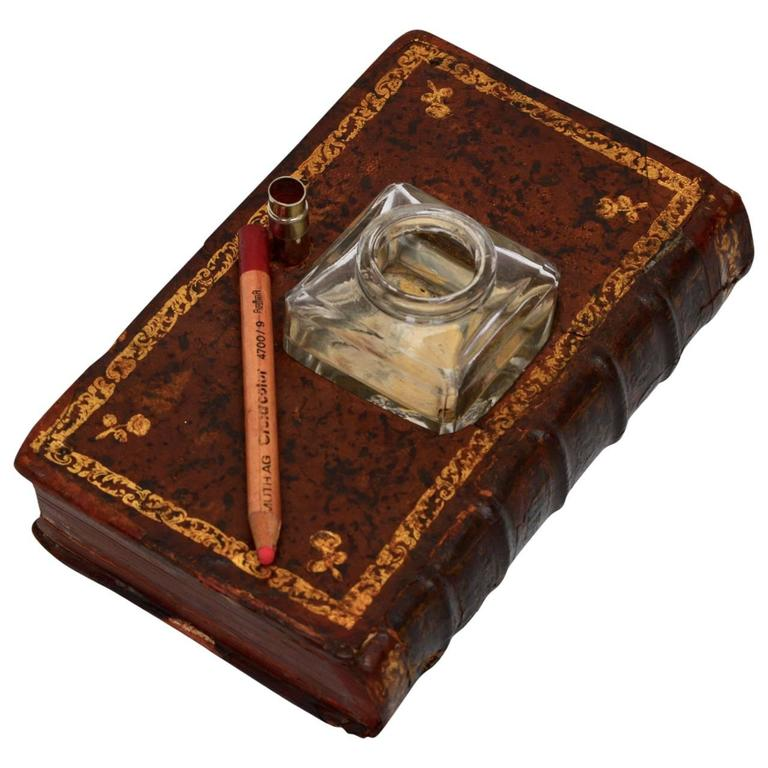 19th Century French Faux Leather Book Ink Well