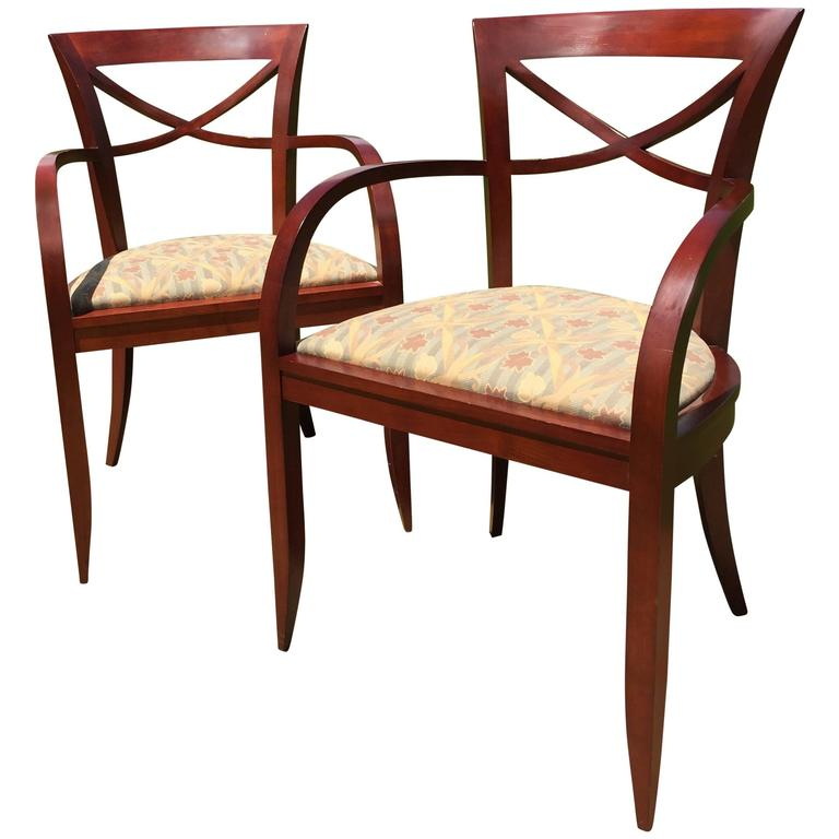 Pair Of Armchairs By David Edward Made Of Cherrywood, Baltimore, MD