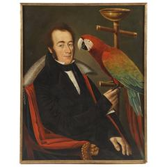 Portrait of a Chilean Gentleman with Pet Parrot by Camilo Domeniconi, circa 1835