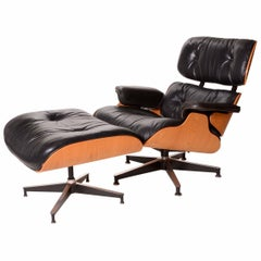 Vintage Charles and Ray Eames Oak and Leather 670 Lounge Chair and 671 Ottoman