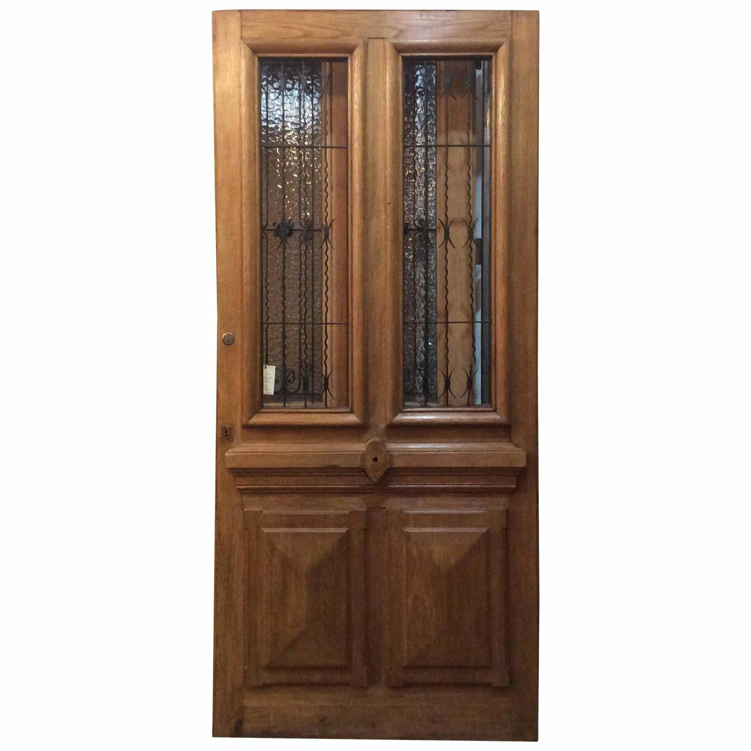 Single french oak door with ironwork for sale at 1stdibs for Single door french doors