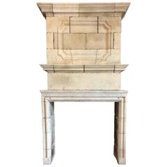 Louis XIV Limestone Mantel with Double Trumeau