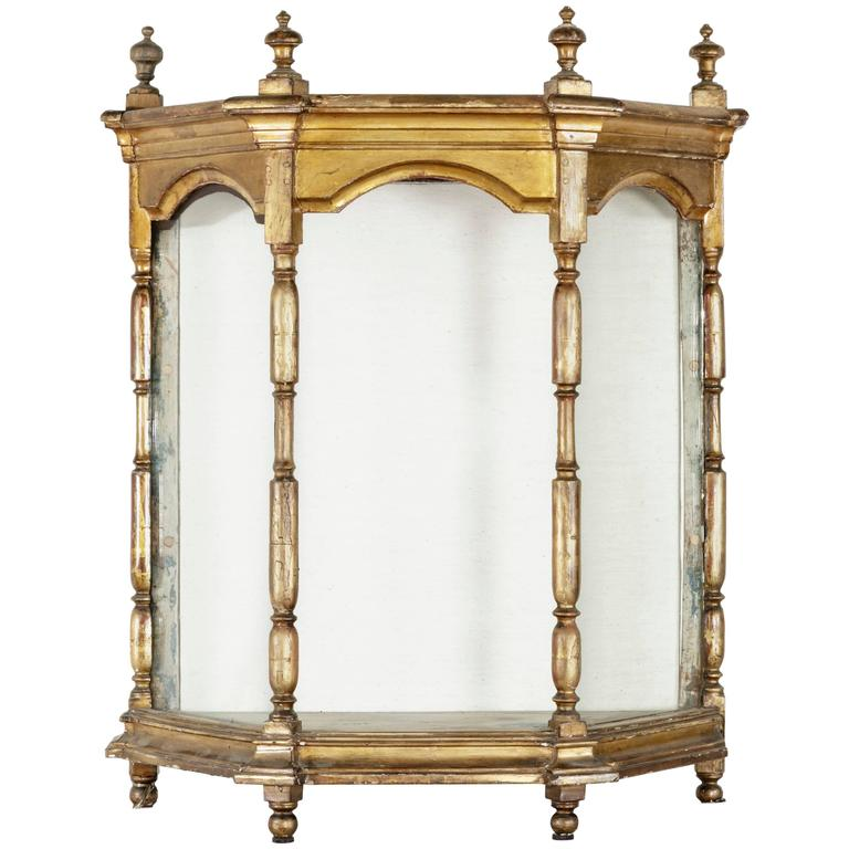 19th Century French Giltwood Tabletop Vitrine, Niche or Display Case