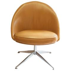Vanity Slipper Chair with Chrome Base in Camel Leather