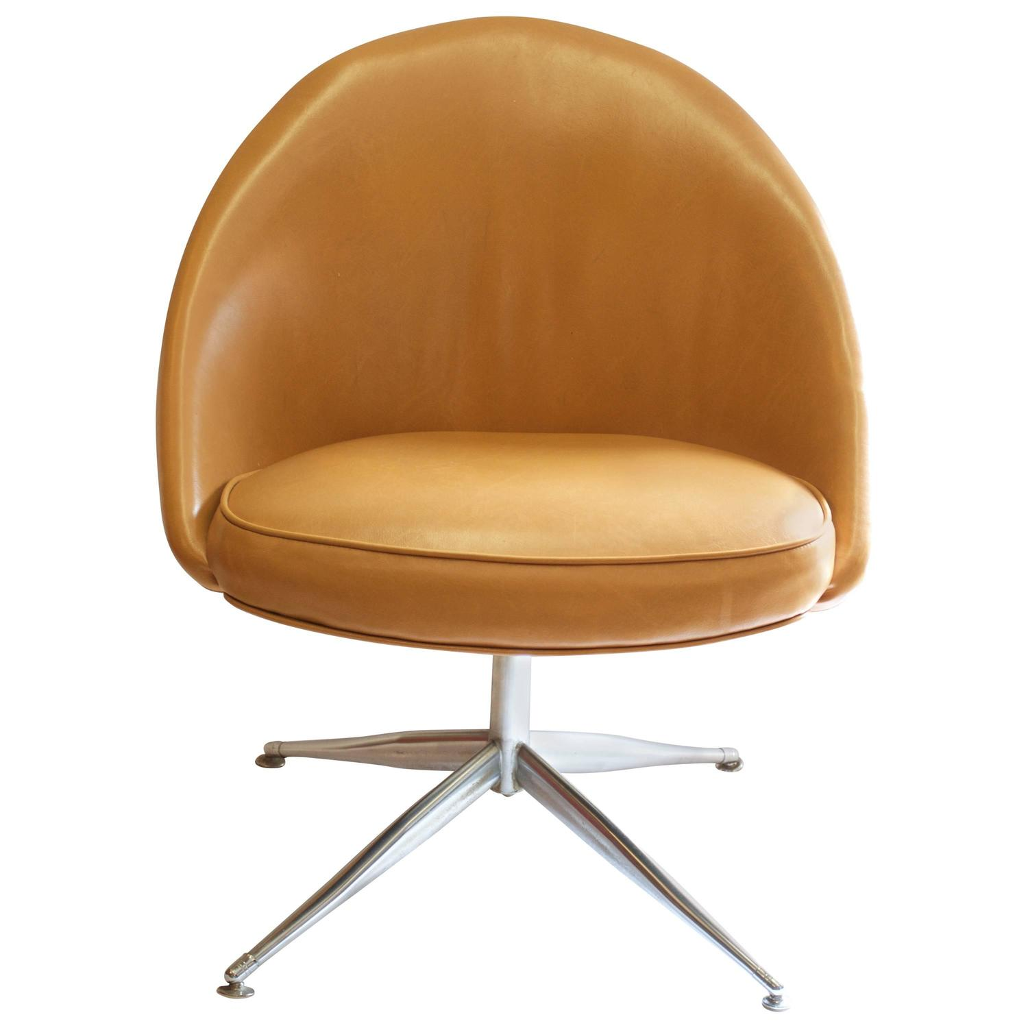 Vanity Slipper Chair with Chrome Base in Camel Leather at