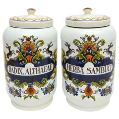 Pair of Dutch Delft Apothecary Jars with Painted Foliage and Reindeer