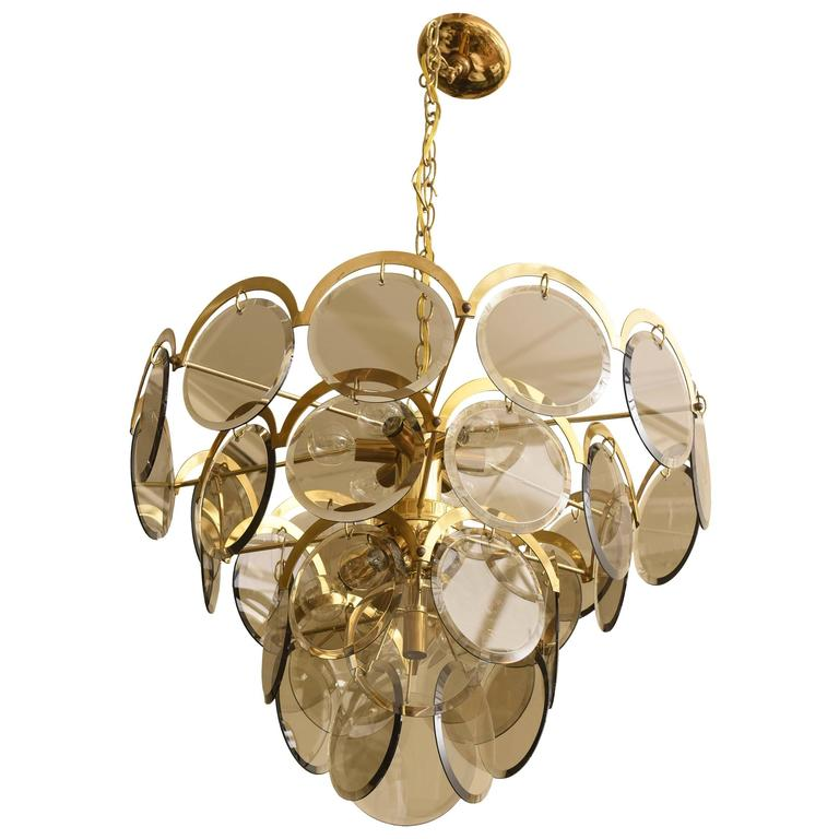 Italian Murano Vistosi Smoked Beveled Glass Disk and Brass Chandelier For Sale