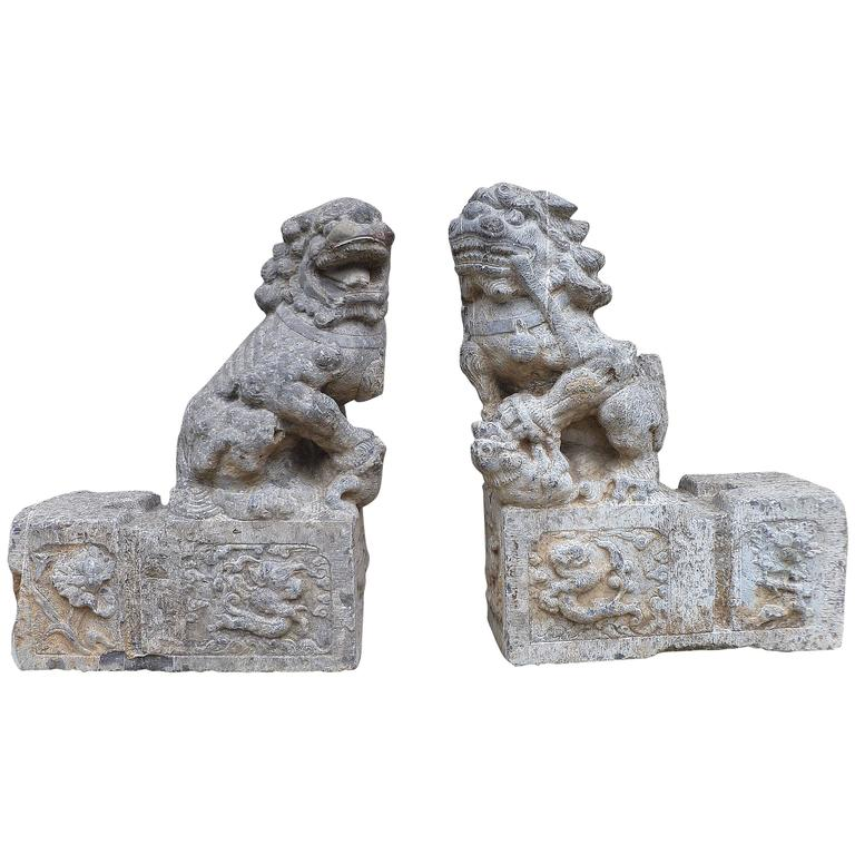 Pair of Grey Stone Carved Foo Lions For Sale