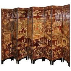Late 18th Century Chinese Export Sang de Boef Lacquer Screen