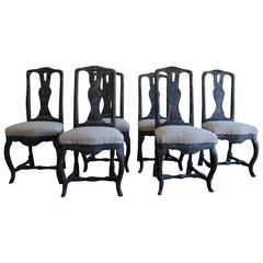 Set of Six Swedish Period Rococo Chairs, Stamped by maker