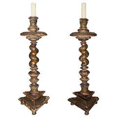 Pair of 17th Century Italian Polychrome and Parcel-Gilt Barley Candlesticks